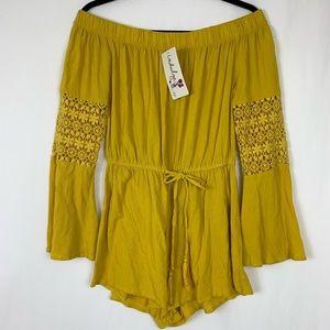 NWT Indulge Boho Romper Shorts LS Mustard M